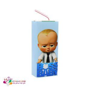 لیبل آبمیوه پاکتی تم تولد بچه رئیس