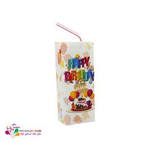 لیبل آبمیوه پاکتی تم تولد هپی رنگی