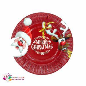 پیش دستی قرمز با طرح کریسمس