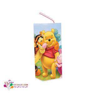 لیبل آبمیوه پاکتی تم تولد خرس پو