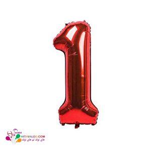 بادکنک قرمز فویلی با طرح عدد 1