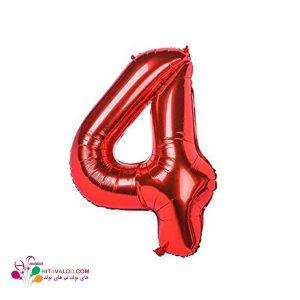 بادکنک قرمز فویلی با طرح عدد 4