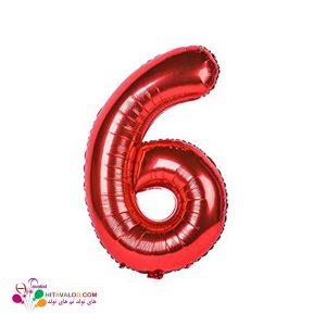 بادکنک قرمز فویلی با طرح عدد 6