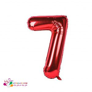 بادکنک قرمز فویلی با طرح عدد 7