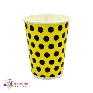 لیوان زرد خال مشکی