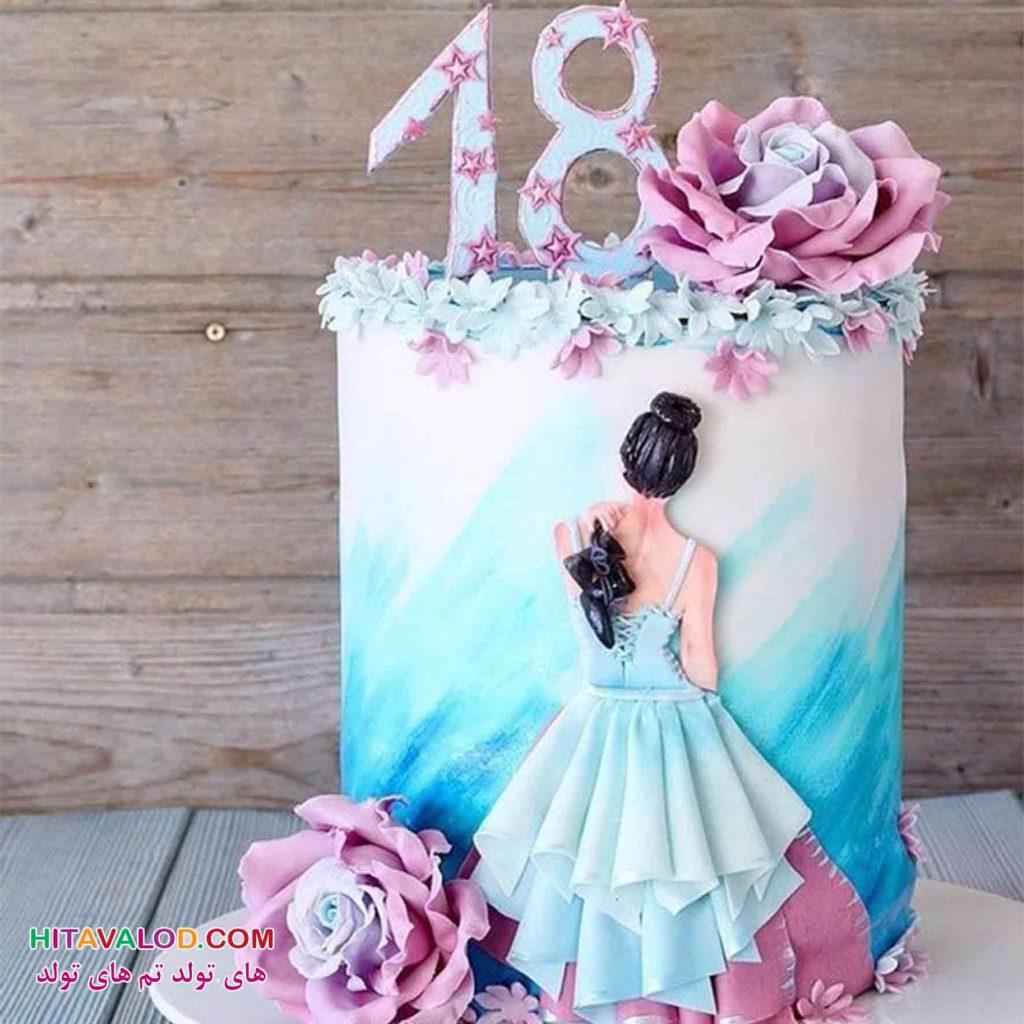 کیک تم تولد بالرین