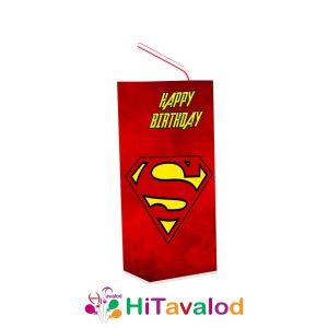 لیبل آبمیوه پاکتی تم تولد سوپرمن