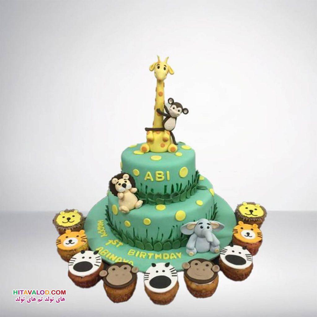 کیک تم تولد حیوانات جنگل