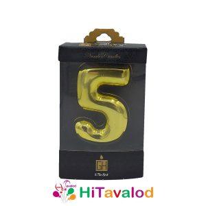 شمع عدد پنج طلایی